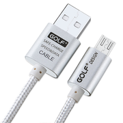 สายชาร์จ Micro USB GOLF หุ้มผ้าถักสีเงิน