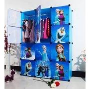 สีฟ้า: ตู้ DIY ลายการ์ตูน Frozen มีหลายขนาด 6,8,9,12,16 ช่อง พลาสติกหนา รับน้ำหนักได้ช่องละประมาณ 10-15 กิโลกรัม > ขนาด 9 ช่อง (ประตู 9 ฝาข้าง 33 หมุด 32) + ราวแขวนเสื้อ 1 อัน