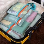 ชุดจัดระเบียบกระเป๋าเดินทางตาข่าย 4 ใบ/ชุด แบ่งสัมภาระให้เป็นสัดส่วน (4 in 1 Travel Mesh Organizer Bags) > Navy Blue