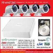Hikvision 4CH Hi-End Set พร้อมใช้งาน สินค้าประกัน 2 ปี เซ็ทและส่งฟรีถึงที่