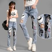 JW5710003 กางเกงยีนส์สาวเกาหลี แต่งลายการ์ตูนน่ารัก (พร้อมส่ง)S,M > size 28