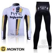 ขายปลีก-ส่ง HOT! HTC ทีมสีขาวและสีดำขี่จักรยานย์ / ขี่จักรยานสวม / เสื้อผ้าขี่จักรยาน + ยาวกางเกง-07A จัดส่งฟรี,สำหรับนักปั่นจักรยาน เสือ ภูเขา ราคาถู