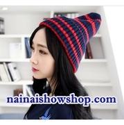 หมวกเกาหลีลายสีน้ำเงิน+สีแดง M-30