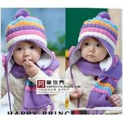 หมวกผ้าพันคอลายน่ารัก สีม่วงสวย ขนนุ่มมาก ๆ อบอุ่นค่ะ ของใหม่ในแพคจ้า