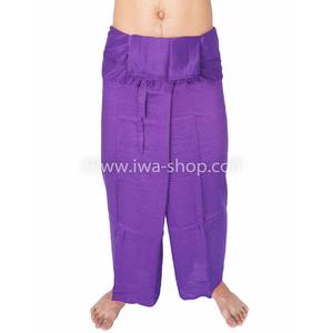 กางเกงเล กางเกงชายหาด ผ้าเรยอน สีม่วง