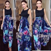 จั้มเสื้อกล้ามผ้าโพลีสีดำตัดต่อกางเกงขาบานผ้าชีฟองพิมพ์ลายดอกไม้