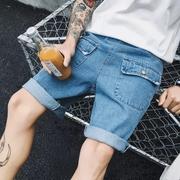 กางเกงยีนส์ขาสั้น ผู้ชาย > สีฟ้า