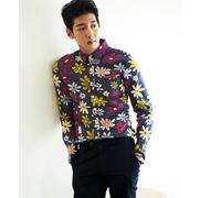 เสื้อเชิ๊ตแขนยาว ลายดอก แฟชั่นเกาหลี
