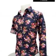 เสื้อ Cotton แขนยาว Size L > เสื้อ Cotton หยักศิลป์เชค สีแดงกรม Size L