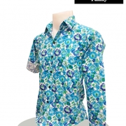 เสื้อ Cotton แขนยาว Size L > เสื้อ Cotton ลายดอกศิลป์ สีน้ำเงิน Size L
