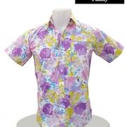 เสื้อ Cotton แขนสั้น Size L > เสื้อ Cotton แขนสั้น ริ้วสีสดเส้นขาด สีกรม Size L