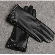 พร้อมส่ง - ถุงมือหนังทัชสกรีน GT180 (สีดำ)