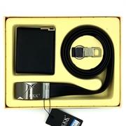 KKK กระเป๋าสตางค์หนังแท้, เข็มขัดหนังแท้, พวงกุญแจ [Box Set ของขวัญสำหรับผู้ชาย 3 ชิ้น] Balck