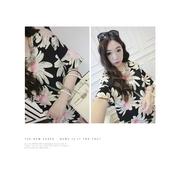 (สินค้าพร้อมส่งค่ะ) เสื้อแฟชั่นเกาหลี ตัวยาว คอกลม แขนสั้น ผ้าชีฟองพิมพ์ลาย