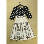 Cherry Dress (สินค้าพร้อมส่งค่ะ) ชุดเดรสเกาหลี เสื้อคอกลม แขนห้าส่วน พิมพ์ลายจุดตัดต่อกระโปรงพิมพ์ลายเหรียญหรูหรา ผ้าดีมากค่ะ – สี Beige (Size: M)