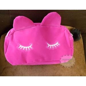 (พร้อมส่ง สีชมพู) กระเป๋าสำหรับใส่ของจุกจิก เครื่องสำอาง รูปแมวเหมียว ผ้ากำมะหยี่ น่ารักๆ