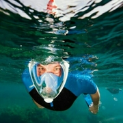 TRIBORD หน้ากากดำน้ำด้วยท่อหายใจ EASYBREATH > เขียวมิ้นท์L/XLต่อกล