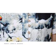 ชุดเดรสผ้าฝ้ายพิมพ์ลายตามภาพ สีน้ำเงิน