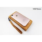 WL07-Brown กระเป๋าสตางค์ใบยาว กระเป๋าสตางค์ผู้ชาย หนัง PU สีน้ำตาล