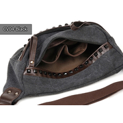CV04-Black กระเป๋าคาดอก ผ้าแคนวาส สีดำ