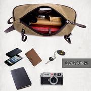 CV02-Khaki กระเป๋าสะพายไหล่ ผ้าแคนวาส สีกากี