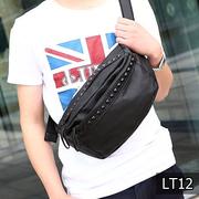 LT12 กระเป๋าคาดอก หนัง PU สีดำ