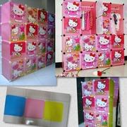 ตู้ DIY ลายการ์ตูน Hello Kitty ข้างตู้มีสีชมพู//ฟ้า//แดง/ขาวใสลายเส้นขนาดช่องละ 37x37 ซม. รับน้ำหนักได้ช่องละประมาณ 10-15 กิโลกรัม (ขนาด 12 และ 16 แถม