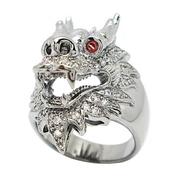 แหวนผู้ชายลายมังกรประดับเพชรและพลอยโกเมนชุบแบล็คโรเดียม