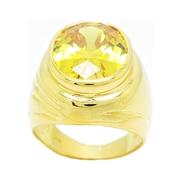 แหวนผู้ชายประดับพลอยรูปไข่สีเหลืองบุศราคัมขนาด13x18มิลชุบทอง