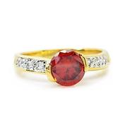 แหวนพลอยกลมสีแดงโกเมนขนาด6มิลประดับเพชรเม็ดเล็กจิกไข่ปลาชุบทอง