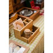Zakka groceries wooden craft | งานไม้ 4 ช่อง สูง 2ระดับ > สีเขียว