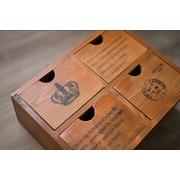 Old wooden storage box grocery inventory   ลิ้นชัก 4 ช่อง > สีไม้ธรรมชาติ