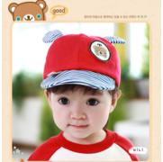 หมวกแก๊ป หมวกเด็กแบบมีปีกด้านหน้า ลายหมีน้อย (มี 4 สี) > สีฟ้า