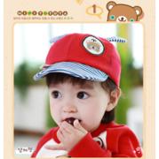 หมวกแก๊ป หมวกเด็กแบบมีปีกด้านหน้า ลายหมีน้อย (มี 4 สี) > สีชมพู