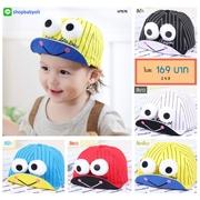 หมวกแก๊ป หมวกเด็กแบบมีปีกด้านหน้า ลายกบเคโระ (มี 5 สี) > สีเหลือง