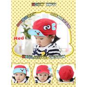 หมวกแก๊ป หมวกเด็กแบบมีปีกด้านหน้า ลายแลบลิ้น (มี 5 สี) > สีแดง