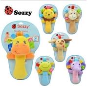 ตุ๊กตาเขย่ามือ Sozzy มี 5แบบ ได้แก่ กบ ยีราฟ ช้าง ลิง สิงโต