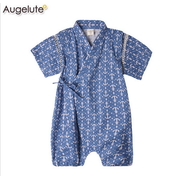 บอดี้สูทยูกาตะเด็กญี่ปุ่น Augelute สีฟ้าลายสมอเรือ > ชุดยูกาตะ Size 80