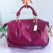 Coach 58410 Colette Satchel shoulder Handbag Leather - Fuchsia