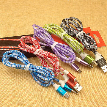 Micro USB colorful clouds woven nylon fast charge transfer line