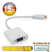 兆兆 DIGITUS HDMI D อินพุทเป็น VGA (แม่) เสียงหน้าจอและวิดีโอ (พร้อมเอาต์พุตเสียง)