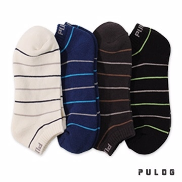 [TAITRA] 【 PuloG 】 Cooling Comb Cotton - Striped Low Cut Socks - Men\'s - 4 Pairs