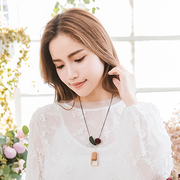 (Sasa Bella)Sasa Bella 【7090711】 South Korea graphics hair ball hanging metal frame texture necklace necklace