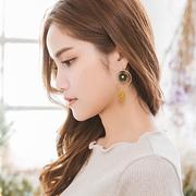 (Sasa Bella)Sasa Bella 【7090710】 Korean round frame leaf drop diamond hollow three-dimensional hollow earrings