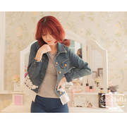 (Sasa Bella)SaSa Bella Loving Seoul South Korea's reckless style [RD113902 wild cowboy stitching Rose Lei Sibu personality Slim was thin denim jac