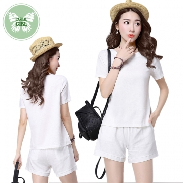 """(Casual Girl)Casual Girl """"literary girl"""" sense two-piece cotton trousers home leisure (white)"""