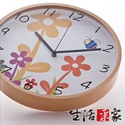 [TAITRA]  SHCJ นาฬิกาแขวนแฟชั่น รุ่นกรอบไม้ เสียงเงียบ(ดอกไม้)
