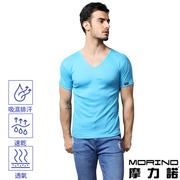(MORINO)[MORINO] anti-bacterial deodorant wicking light blue short-sleeved V-neck shirt