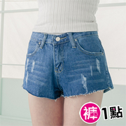 Pants 1:00 E026 Love Natsumi type shear break * modeling denim shorts (dark blue)