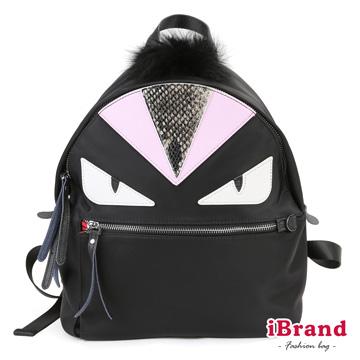 [TAITRA] iBrand Korean Style Monster Printed Genuine Leather Pink Nylon Backpack - Black